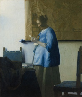 Johannes Vermeer, Woman in Blue Reading a Letter, c. 1663, oil on canvas, 46.6 x 39.1 cm (18 3/8 x 15 3/8 in.), Rijksmuseum. On loan from the City of Amsterdam (A. van der Hoop Bequest)
