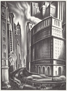 "Howard Norton Cook, ""Looking up Broadway"", 1937 lithograph National Gallery of Art, Washington, Reba and Dave Williams Collection, Gift of Reba and Dave Williams"