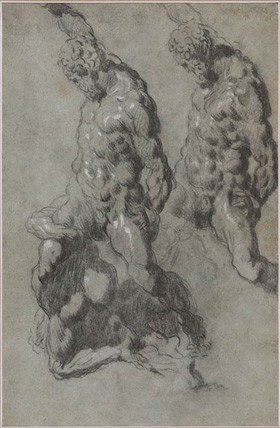 Tintoretto(?) and Workshop, Study of Michelangelo's Samson and the Philistines (recto and verso), c. 1560–1570, charcoal and black chalk with white opaque watercolor on blue paper, The Morgan Library & Museum, New York. Thaw Collection