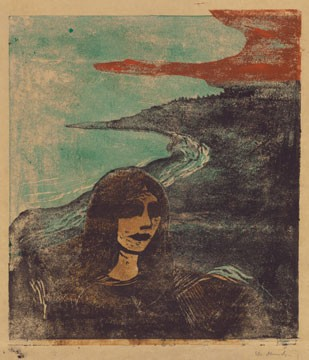 Edvard Munch, Girl's Head Against the Shore, 1899, color woodcut, Epstein Family Collection