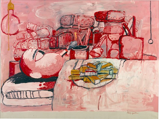 Philip Guston, Painting, Smoking, Eating, 1973 oil on canvas, overall: 196.85 x 262.89 cm (77 1/2 x 103 1/2 in.). Stedelijk Museum, Amsterdam. © The Estate of Philip Guston