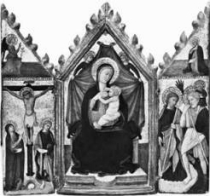 Anon. (Bologna) 15th century, Madonna and Child Enthroned with Angels. Location unknown.