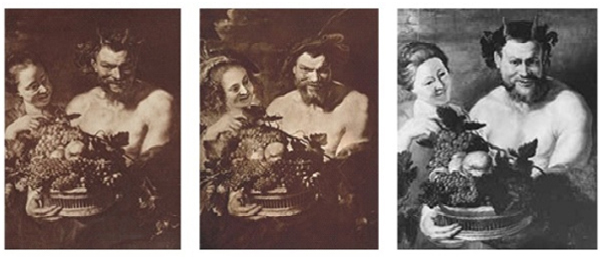 Left: Peter Paul Rubens (?), Satyr and a Maiden, c. 1612, probably original version (or direct copy after), Gemäldegalerie Alte Meister, Dresden; collotype, photograph F. Bruckmann A.G., Munich. Center: Copy after Peter Paul Rubens (?), Satyr and a Maiden, after c. 1612 (note changes in maiden's hair and costume, the Satyr's facial expression, and the addition of hats), Mauritshuis, The Hague; collotype. Right: Copy after Peter Paul Rubens (?), Satyr and a Maiden, twentieth century, modern interpretation, location unknown; silver gelatin print