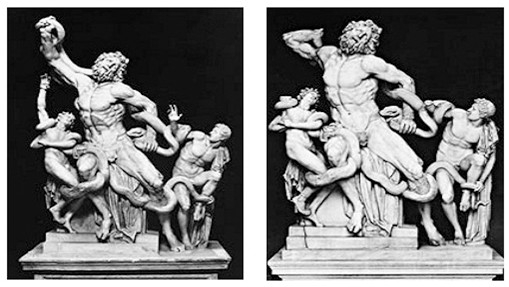 Left: Laocoön, early first century, with restored arms, Museo Pio Clementino, Vatican; silver gelatin print, photograph Brogi. Right: Laocoön, early first century, restoration removed, Museo Pio Clementino, Vatican; silver gelatin print, photograph Hirmer Verlag