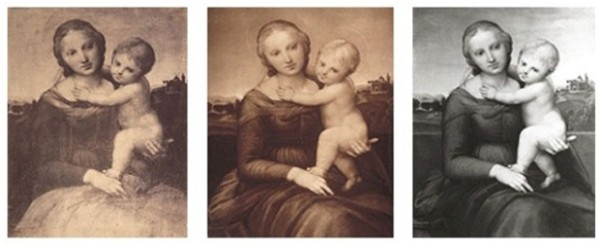 "Left: Raphael, Small Cowper Madonna, c. 1505, before restoration (note discoloration across the Madonna's lap and the dark landscape); matte albumen print from Photographs of the ""Gems of the Art Treasures Exhibition,"" Manchester, 1857, published jointly by Thomas Agnew and P. and D. Colnaghi, photograph Caldesi and Montecchi. Center: Raphael, Small Cowper Madonna, c. 1505, after minor restorations, background slightly less obscured; carbon print, c. 1910, photograph Adolphe Braun et Cie. Right: Raphael, Small Cowper Madonna, c. 1505, after modern restoration (note parapet behind Madonna and details in landscape not previously apparent); silver gelatin print, c. 1986, photograph National Gallery of Art"