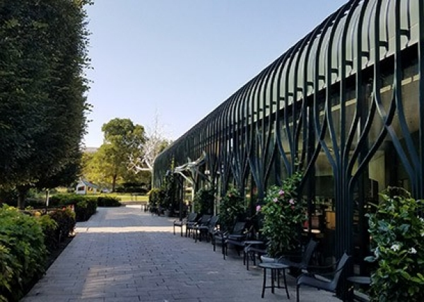 View of the front patio of the Pavilion Café in the Sculpture Garden with tables, chairs, and green trees, shrubs, and plants